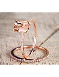 2Pcs Yellow Shinning Cubic Zirconia Topaz Rings for Women Rose Gold Plated Anniversary Cocktail Arrow Wedding Bands Collection Jewelry Rings Set Size 6-10, Gold, 7#