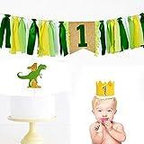 IntService 1歳 誕生日 ハイチェアバナー 恐竜 1歳の誕生日 デコレーション 1歳の誕生日 男の子 パーティー デコレーション (テーマフォレスト)