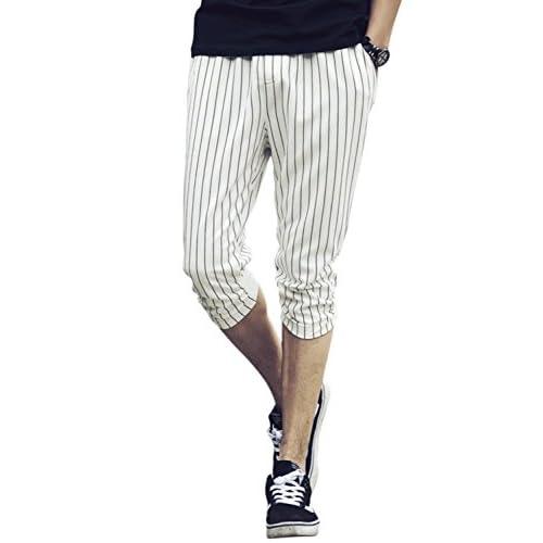 (リザウンド)ReSOUND メンズ 五分丈 ハーフ パンツ ホワイト XL サマー パンツ 夏 ナツ ウォッシャブル リネン グレー 灰色 メンズ ストリート カジュアル オシャレ 夏用 なつ用 薄手 九分丈 チノパン 麻 綿 夏服 7分丈 白 XL 432