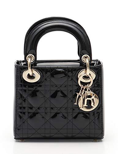 (クリスチャンディオール) Christian Dior レディディオール カナージュ ミニハンドバッグ エナメルレザー 黒 ゴールド金具 中古