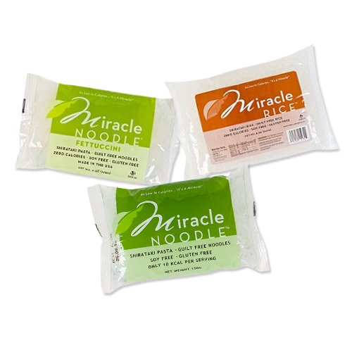 Miracle Noodle 6 bag Variety Pack, 4.2-Pound (Includes: 2 Shirataki Angel Hair, 2 Shirataki Rice & 2 Shirataki Fettuccini)