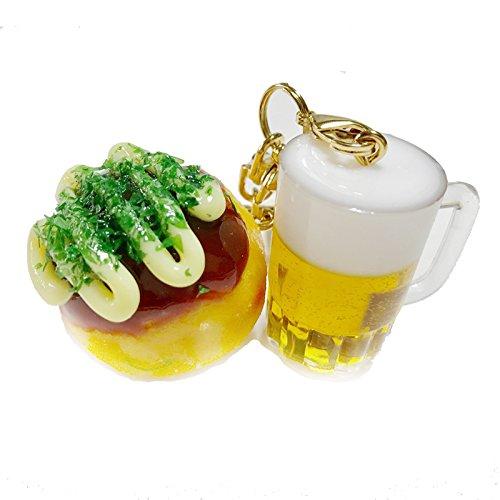 食品サンプル キーホルダー 生ビール&たこマヨ小 大阪コンビ