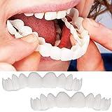 ベニアの歯の2ペア、化粧品の歯 - 一時的な笑顔と快適なフィット柔らかい化粧品の歯、すべてが最もフィットし、快適な上下のベニヤ - 歯のベニア(下+上)