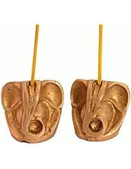 Purpledip Incense Stick HolderまたはAgarbattiスタンド:に彫刻真鍮& Ganapatiような形、ガネーシャ、Vinayakのセット2 ( 10991 )