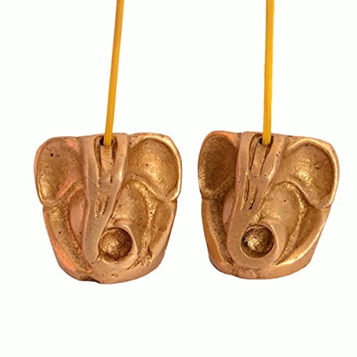 コンパニオンハウジング関係ないPurpledip Incense Stick HolderまたはAgarbattiスタンド:に彫刻真鍮& Ganapatiような形、ガネーシャ、Vinayakのセット2 ( 10991 )