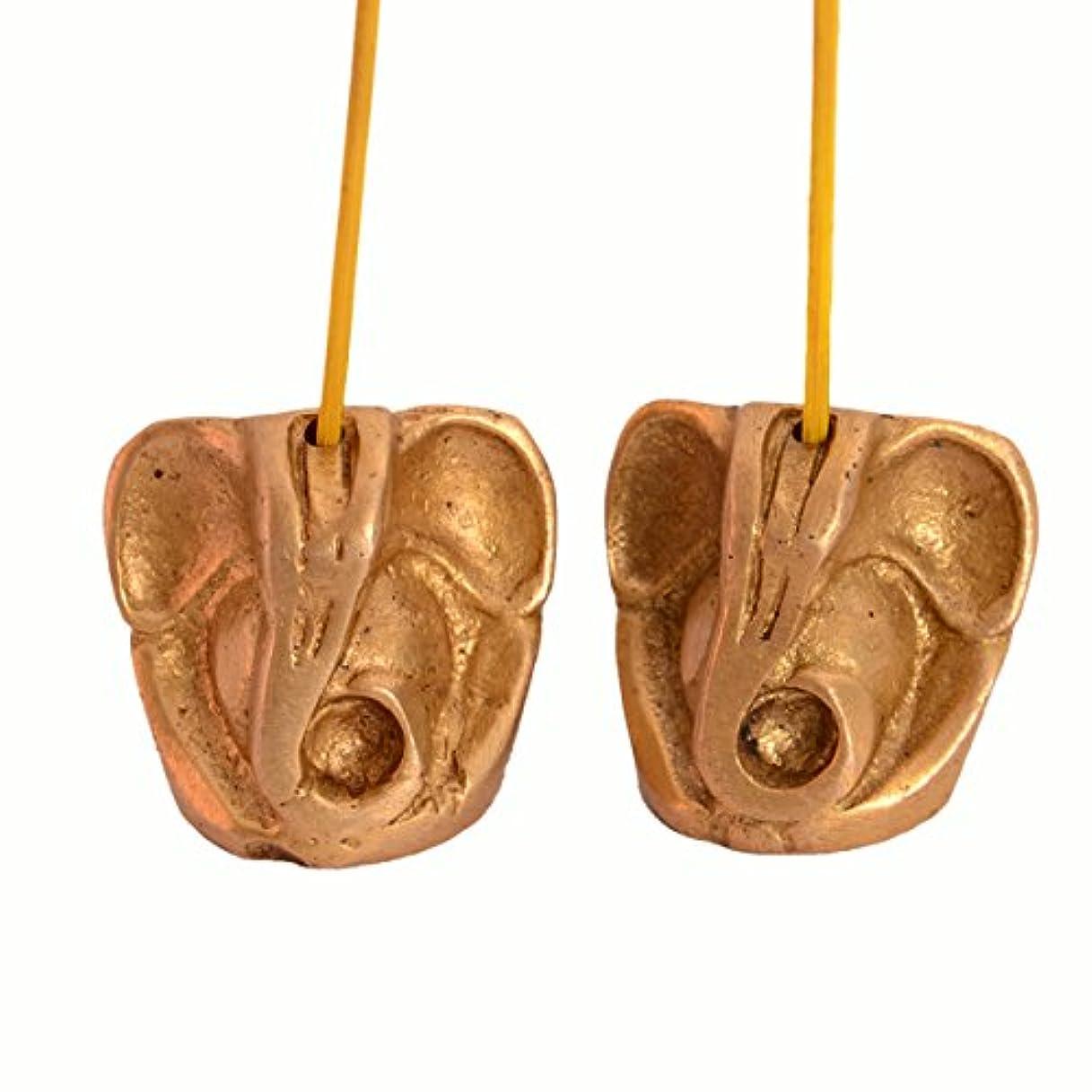 スクラブ下位と組むPurpledip Incense Stick HolderまたはAgarbattiスタンド:に彫刻真鍮& Ganapatiような形、ガネーシャ、Vinayakのセット2 ( 10991 )