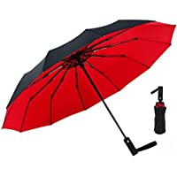 Folding Umbrella Windproof, Black Glue Anti UV Coating Double Canopy, Compact Travel Umbrella for Women Men, Auto Open Close