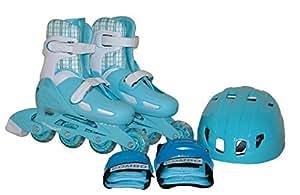 東方興産 インラインスケート4点セット CA-475 ライトブルー L(20cm・21cm・22cm・23cm)