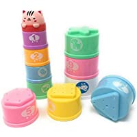 Fun and educational 11 pieces bath tub stacking and nesting playing cups learn shapes colors numbers and animals. [並行輸入品]