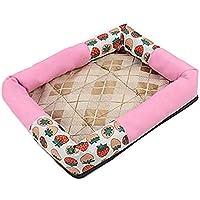 DUOLUO ペットマットサマーペットクーラーパッド犬用冷却パッド通気性リムケネル(色:ピンク、サイズ:S)ペット用ベッド毛布