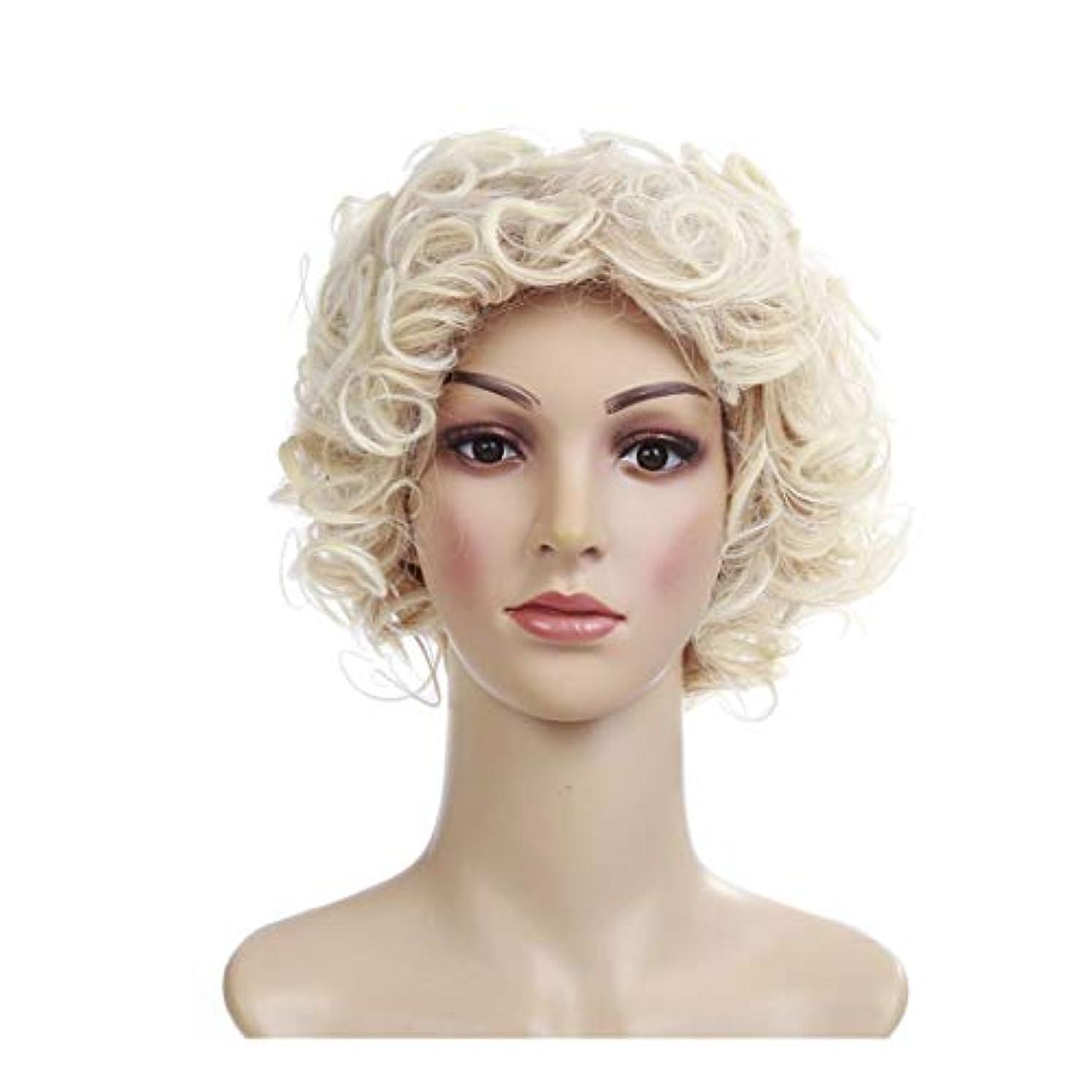 用量までレーザYOUQIU 黄金のヨーロッパやアメリカの短い巻き毛のかつら高温シルク小さな曲率髪型のかつらウィッグ (色 : ゴールド)