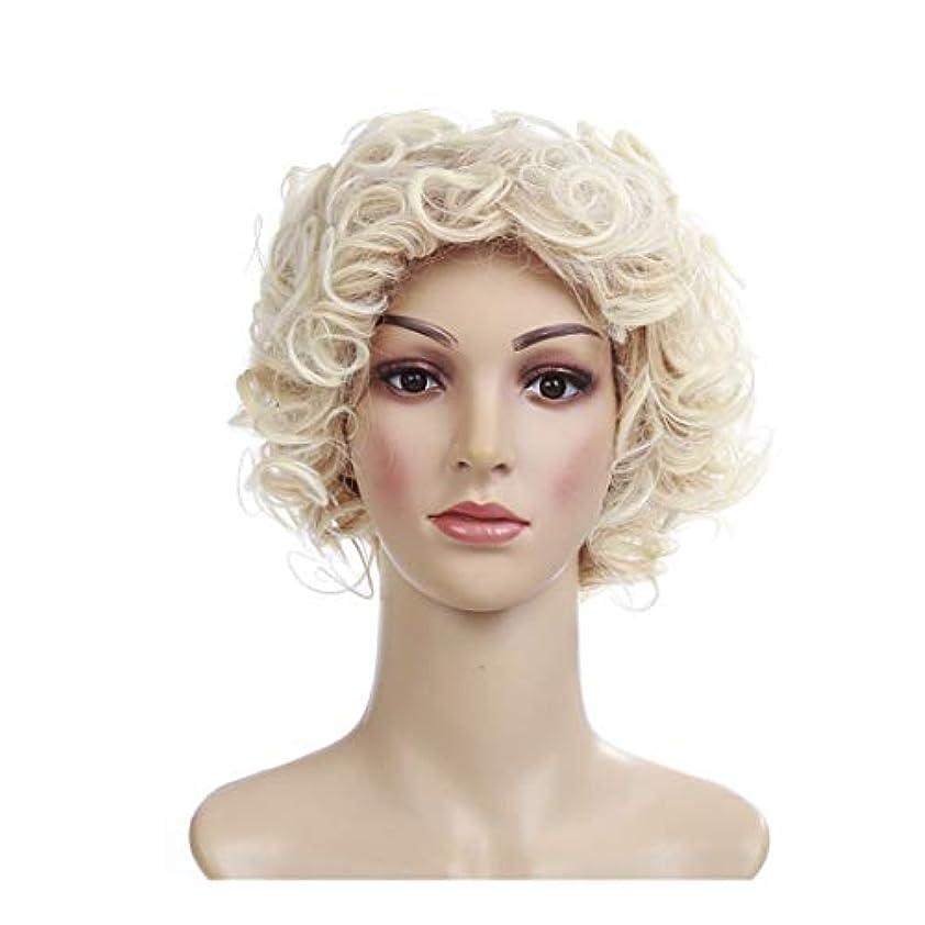 リングバック愛人略奪YOUQIU 黄金のヨーロッパやアメリカの短い巻き毛のかつら高温シルク小さな曲率髪型のかつらウィッグ (色 : ゴールド)
