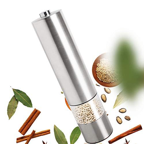 Carejoy 電動ペッパーミル ステンレス製 コショウミル ソルトミル 粗さ調節可能 操作簡単 結晶塩 調理道具