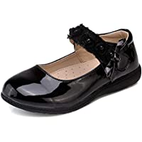 Naisidier Little Girls Leather Mary Janes Cute Flower Strap Flat School Shoes for Flower Girls Dress
