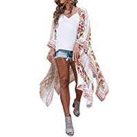 Glennoky tシャツ レディース 半袖シャツ 七分袖 シフォンシャツ ファッション 花柄 羽織り 和風 着物 和服 春夏 カーディガン 前開きシャツ 開襟コート スプリングコート ビキニカバー 旅行 ビーチ 日焼け止 UVカット 20代30代40代