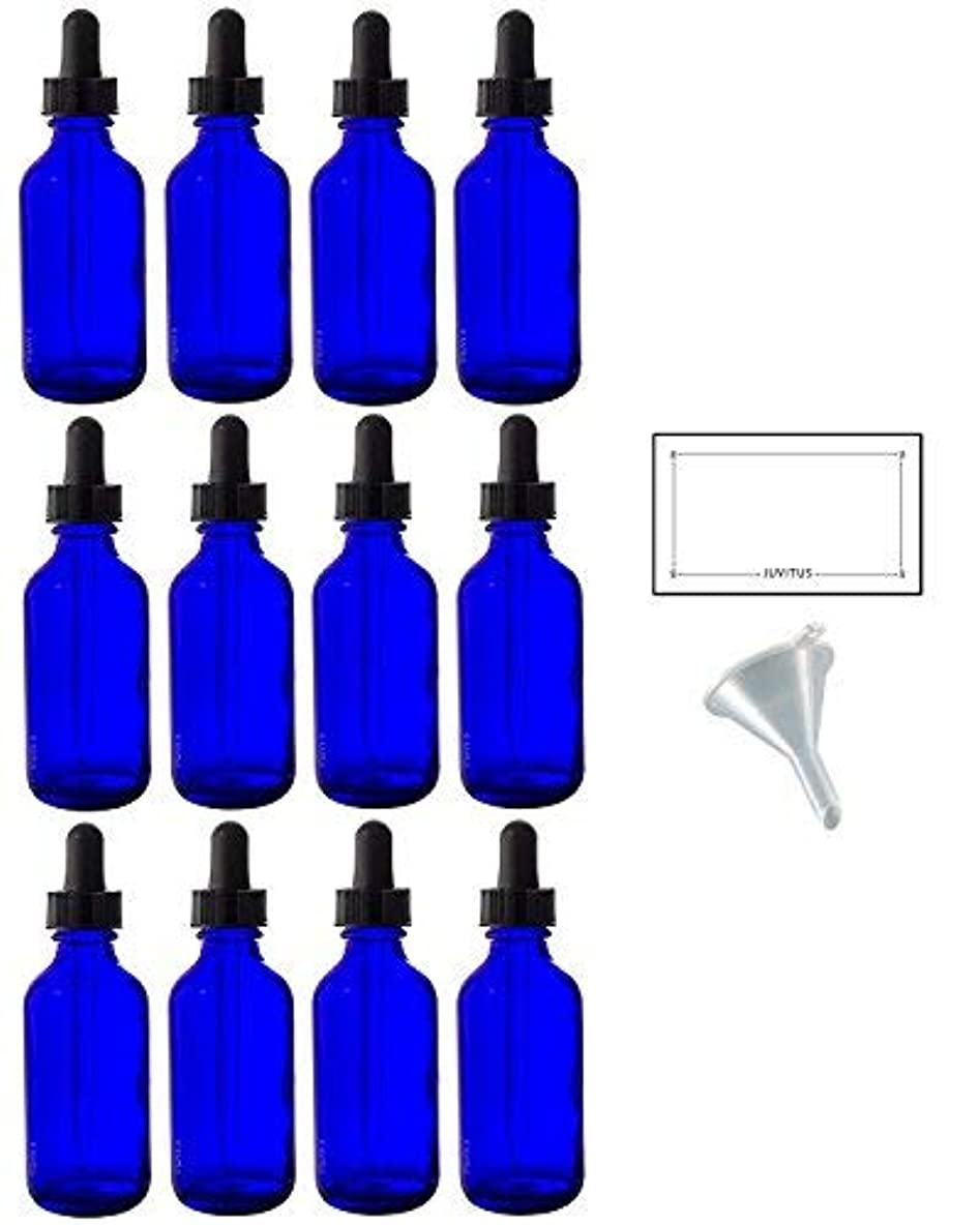 征服者トラクター購入2 oz Cobalt Blue Glass Boston Round Dropper Bottle (12 pack) + Funnel and Labels for essential oils, aromatherapy...