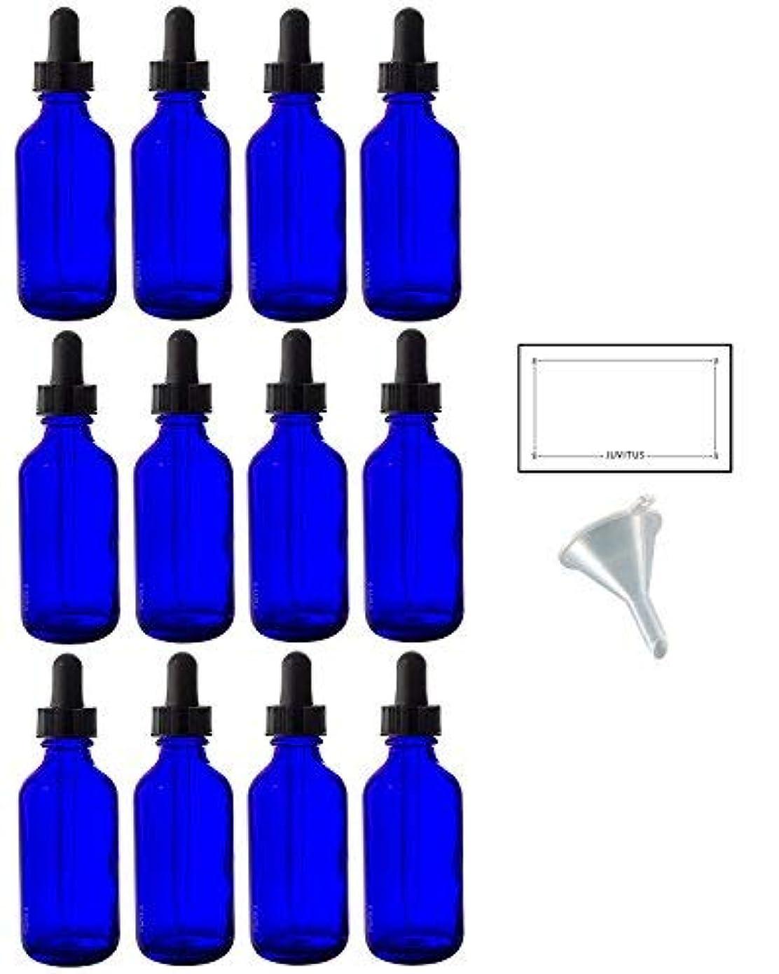 もっと少なく余裕がある然とした2 oz Cobalt Blue Glass Boston Round Dropper Bottle (12 pack) + Funnel and Labels for essential oils, aromatherapy...
