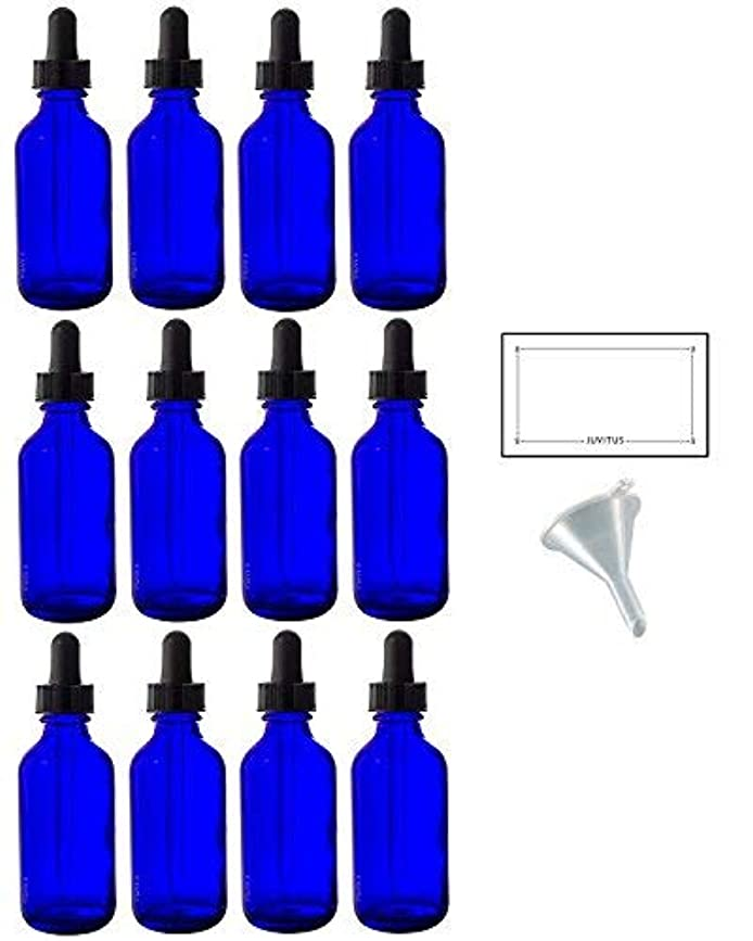 遠近法コールド下位2 oz Cobalt Blue Glass Boston Round Dropper Bottle (12 pack) + Funnel and Labels for essential oils, aromatherapy...