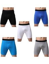 (ジンシ) JINSH 前開き ロングボクサーパンツ メンズ ハーフ ボクサーパンツ 男性 トランクス 立体 通気人気 L 5枚