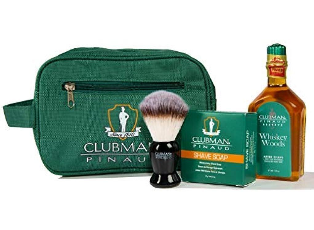 現在キャスト導出Clubman Pinaud Shave Essentials Set - Dopp Kit with Whiskey Woods After Shave Shave Soap and Shave Brush [並行輸入品]