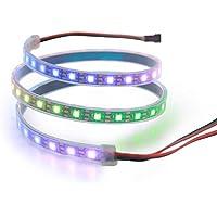 ALITOVE WS2812B アドレス可能 LEDテープライト 5050 RGB SMD 1 m 60個ピクセル夢色 防水 黒いベース 5V DC