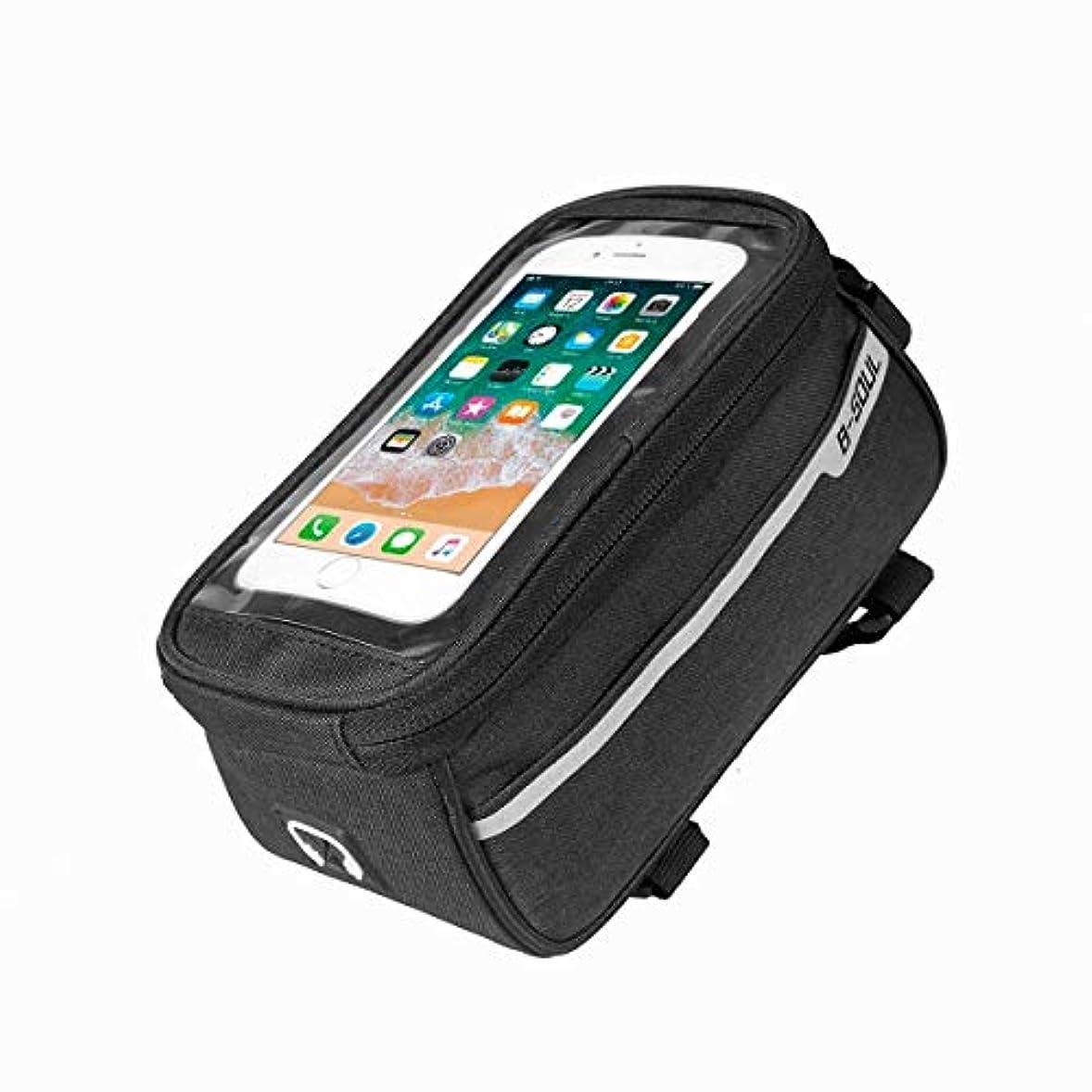 スリップシューズタックル緩めるバイクフレーム収納バッグ、CUGLB 6.0インチ以下の携帯電話に適した、防水高感度タッチスクリーンサイクリングフロントチューブハンドルバーバッグ