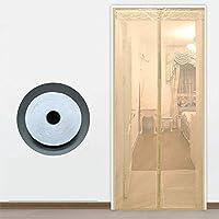 サイレントスクリーンドア 網戸カーテン,夏 マグネット付き簡単網戸 蚊帳 マジックテープ付き マグネットカーテン -140×220センチメートル(55×87インチ)-C