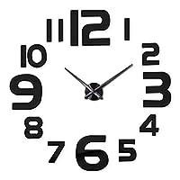 壁掛け時計 壁時計DIY 3Dモダンラージウォールテクノロジーステッカーデジタル装飾時計ホームオフィスリビングルームデコレーションクリエイティブミニマリストホームデコレーション(バッテリーなし) 雑貨 インテリア (Color : Black)