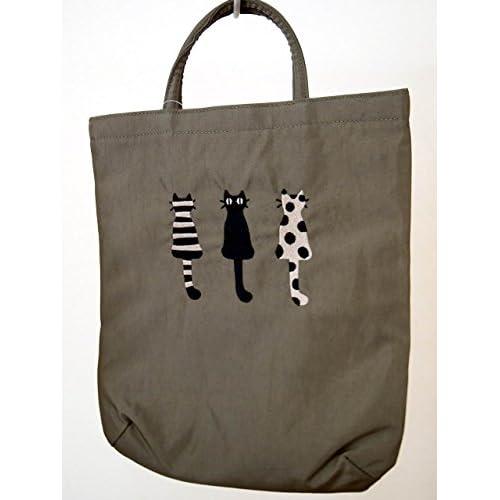 俣野温子 刺繍バッグ 仲良し猫 カーキ またのあつこ・マタノアツコ・ATSUKO MATANO