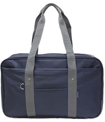 多機能内ポケット大型ポリエステルスクールバッグ(ボストンバッグ) ネイビーグレー