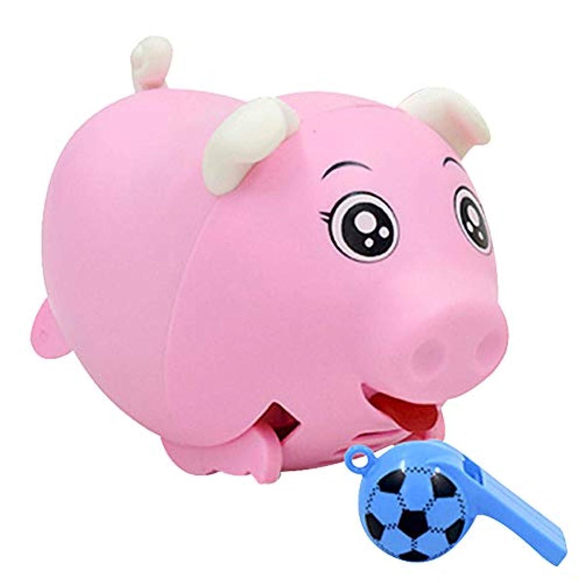 木製固執偽装するprofeel 音声起動豚のおもちゃ、おもちゃの実行豚、ホイッスルサウンドコントロール誘導電動豚おもちゃクリスマスギフト
