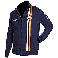Aus Eshop Mens Steve McQueen Le Mans Grand Prix Gulf Navy Blue Biker Cotton Jacket