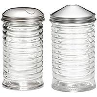 (Set of 2 ) Beehive Sugar Pourer and Powdered Creamerディスペンサーセット、ガラスwithステンレススチール蓋12オンス