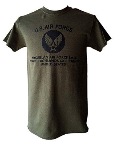 STOCKROOM U.S.AIR FORCE T-シャツ/AR 6.1オンス (LARGE, ミリタリーグリーン-黒)