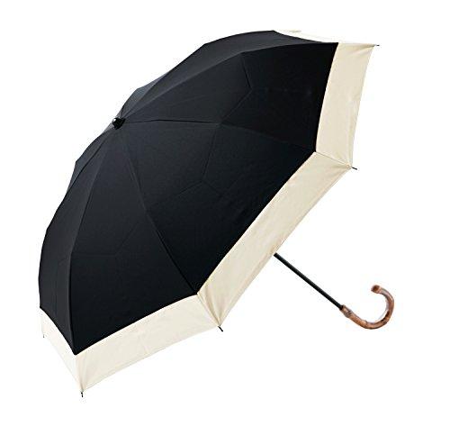 【RoseBlanc】100%完全遮光日傘2段折りたたみレディースコンビ(傘袋付)50cm(ブラック×ベージュ)