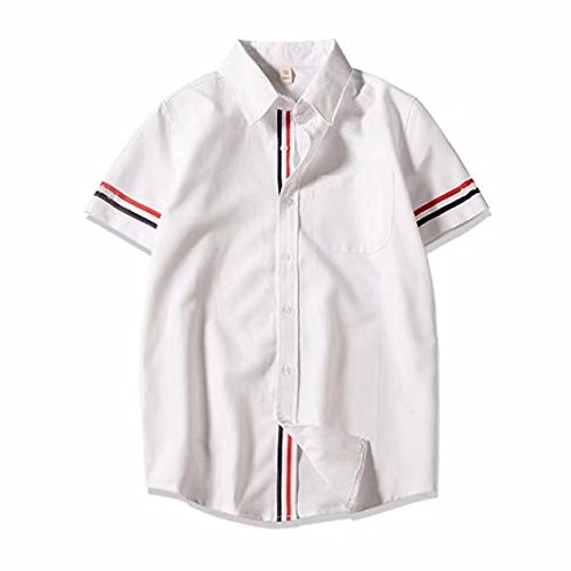 アルコールパワーセル彼らはBOXUANメンズ Yシャツ ストレッチ スリムシャツ 素晴らしい 純色 パッチポケット 半袖 ボタンアップ シャツ ホワイト ビジネス
