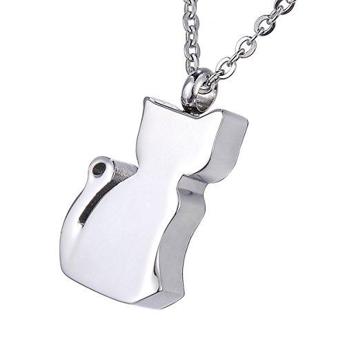 [해외]HOUSWEETY 고양이 형 기념 펜던트 목걸이 애완 동물 고양이 기념 액세서리 스테인리스 무지/HOUSWEETY Cat type memorial pendant necklace pet cat memorial accessory stainless steel solid color