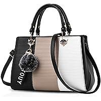 Kaichen 爽やかなハンドバッグ 斜め掛けバッグ ファーチャーム かわいい ポンポン 鞄 シンプル ショルダーバッグ レディース 通勤 デート PUレザー
