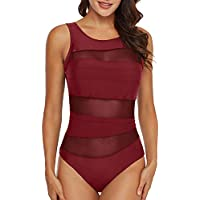 AnnJo Women One Piece See Through Mesh Padded Backless Monokini Bathing Suit