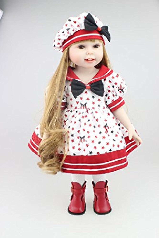 値スポーツNPKDOLLファッション可愛いリアルなソフトシリコンビニールボディGirl Doll Toy 18インチ( 45 cm )