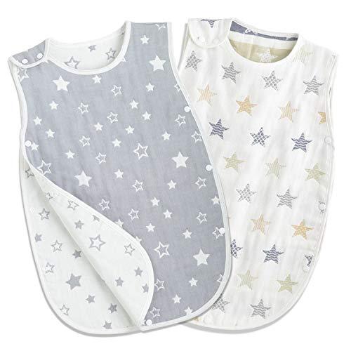 TWONE(トォネ)スリーパー ベビー 赤ちゃん 寝袋 6重ガーゼ 女の子 男の子 オーガニックコットン100% 柔らかく お昼寝 寝冷え防止 通気性 新生児~3歳まで 出産お祝い ギフト (星柄2セット)