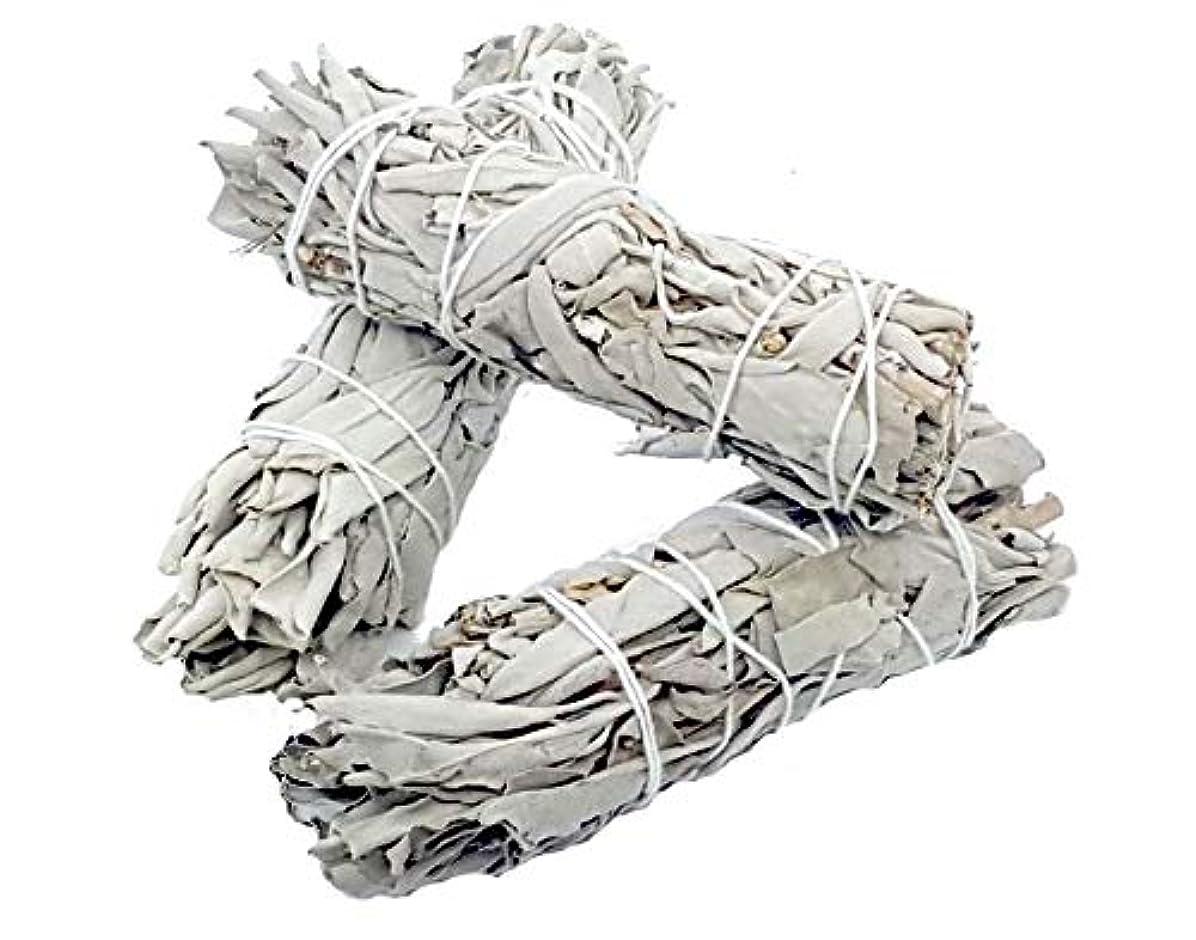 アシストスキッパーしょっぱいYellow Brick Road ホワイトセージスマッジスティックバンドル – 3パック – 2x4インチ – ワイルドハーベストカリフォルニアスマッジスティックワンド