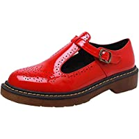 PPXID Women's Big Size Preppy Style T-Strap Carved Brogues Flats Oxford Shoes