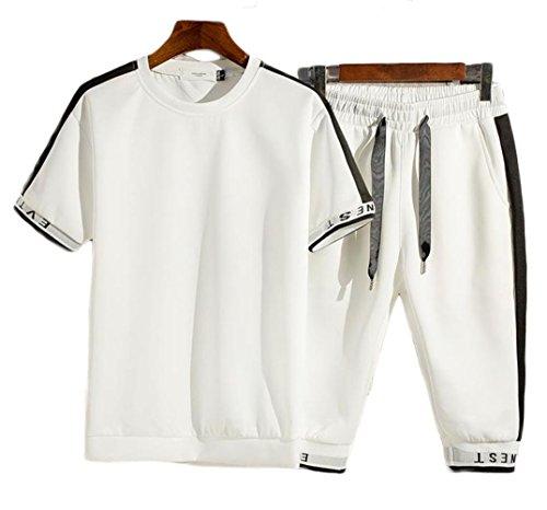 BSCOOLメンズ Tシャツ 半袖 ハーフパンツ ゆったり 無地 上下セット 夏物 セットアップ ストリート大きいサイズ トレーナー(DA)