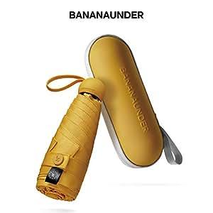 Bananaunder 折りたたみ傘 超軽量 日傘 晴雨兼用 UVカット率100% 遮光率100% 持ち運び便利 レディース 日焼け対策 カプセル傘 (ひまわり色)