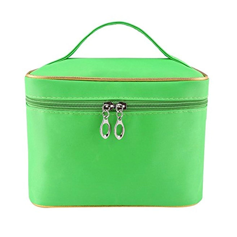 もちろんエレメンタルクラウンDRASAWEE(JP)レディース 大容量 コスメボックス 防水化粧バッグ 鏡付き 収納ケース 便利 ダブルファスナー メイクポーチ 小物入れ グリーン