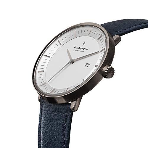 [ノードグリーン]Nordgreen 腕時計 ユニセックス ウォッチ Philosopher ガンメタル 40mm 北欧 デザイナーウォッチ ネイビーレザーストラップ【2年保証】