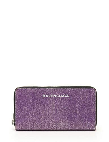 (バレンシアガ) BALENCIAGA エッセンシャル ラウンドファスナー長財布 レザー 紫 ラメ 392124 中古
