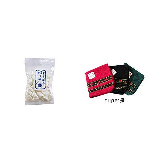 [2点セット] シルクはっか糖(150g)・さるぼぼ 刺繍ミニタオル【黒】