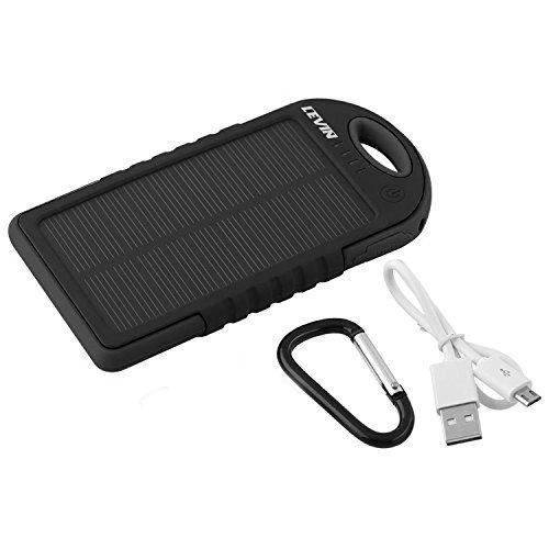 LEVIN 12000 mAh iPhone/Androidモバイルソーラーチャージャー ソーラー充電器 ソーラーモバイルバッテリー 衝撃吸収 防じん 防雪 ブラック
